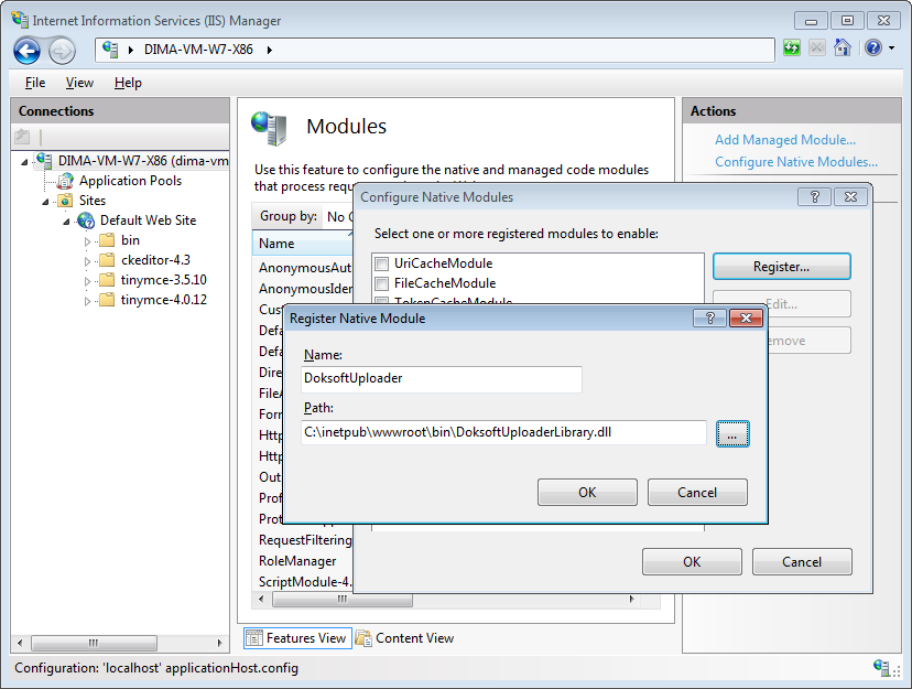 ASP.NET uploader configuring register native IIS module screenshot
