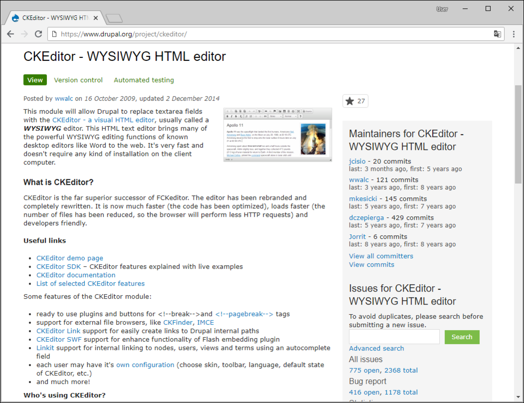 Download a CKEditor module screenshot