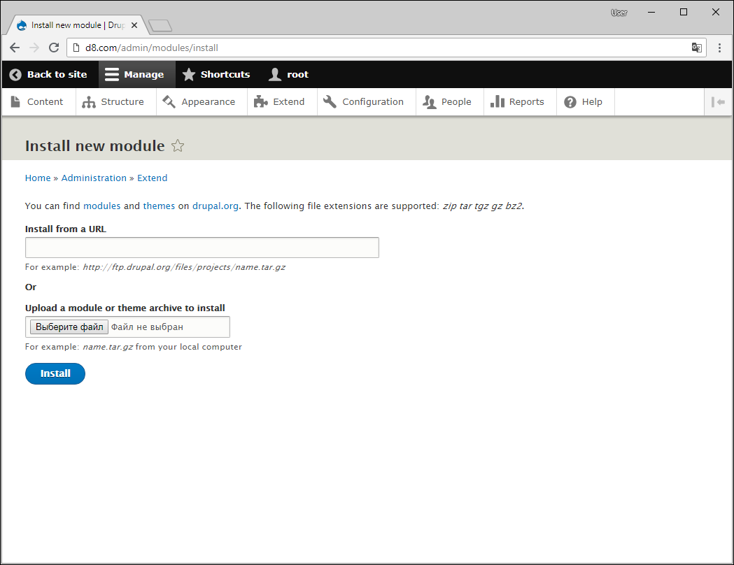 Uploading modules to Drupal 8