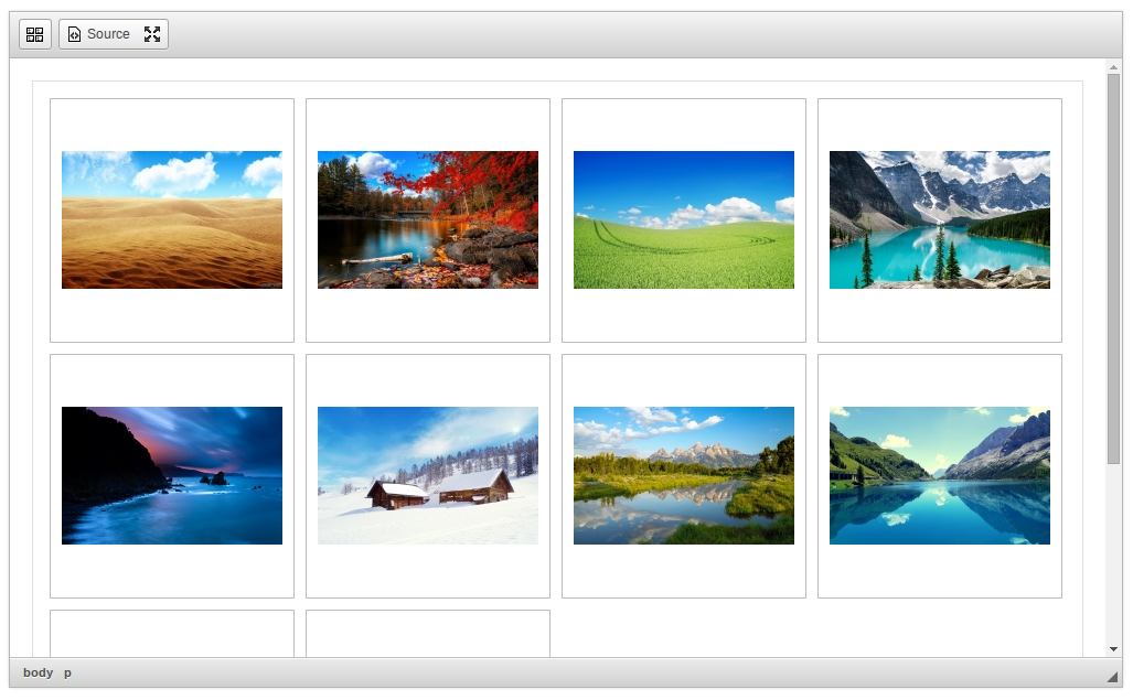 CKEditor Image Gallery default style screenshot