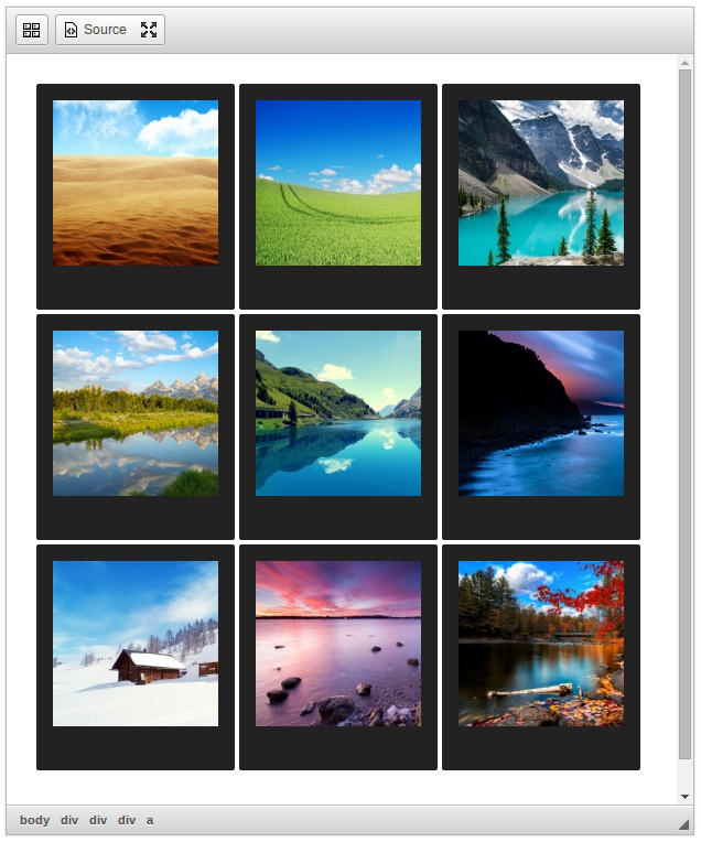 CKEditor Image Gallery polaroid style screenshot