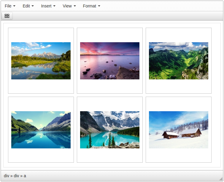 TinyMCE Image Gallery default style screenshot