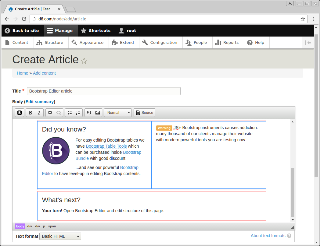 Creating new article using CKEditor Bootstrap Editor in Drupal 8