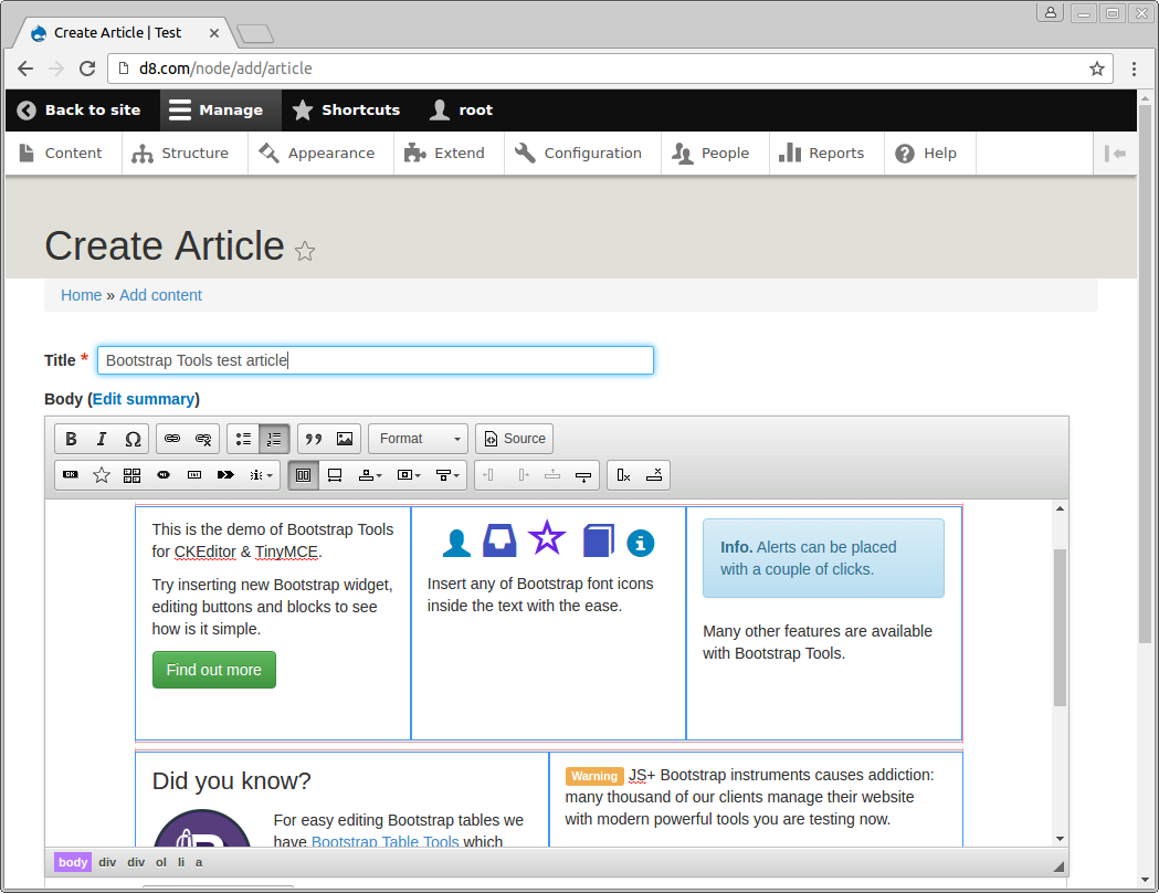 Creating new article using CKEditor Bootstrap Tools in Drupal 8