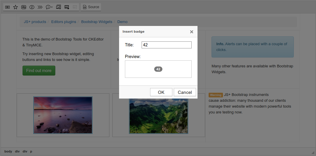 Bootstrap Badge dialog screenshot