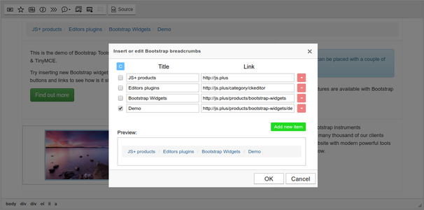 Bootstrap Breadcrumbs dialog screenshot