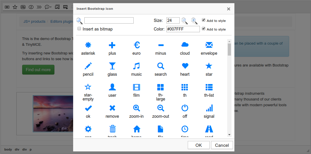 Bootstrap Icon dialog screenshot