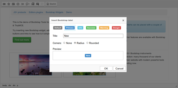 Bootstrap label dialog screenshot