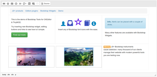 Bootstrap Widgets common view