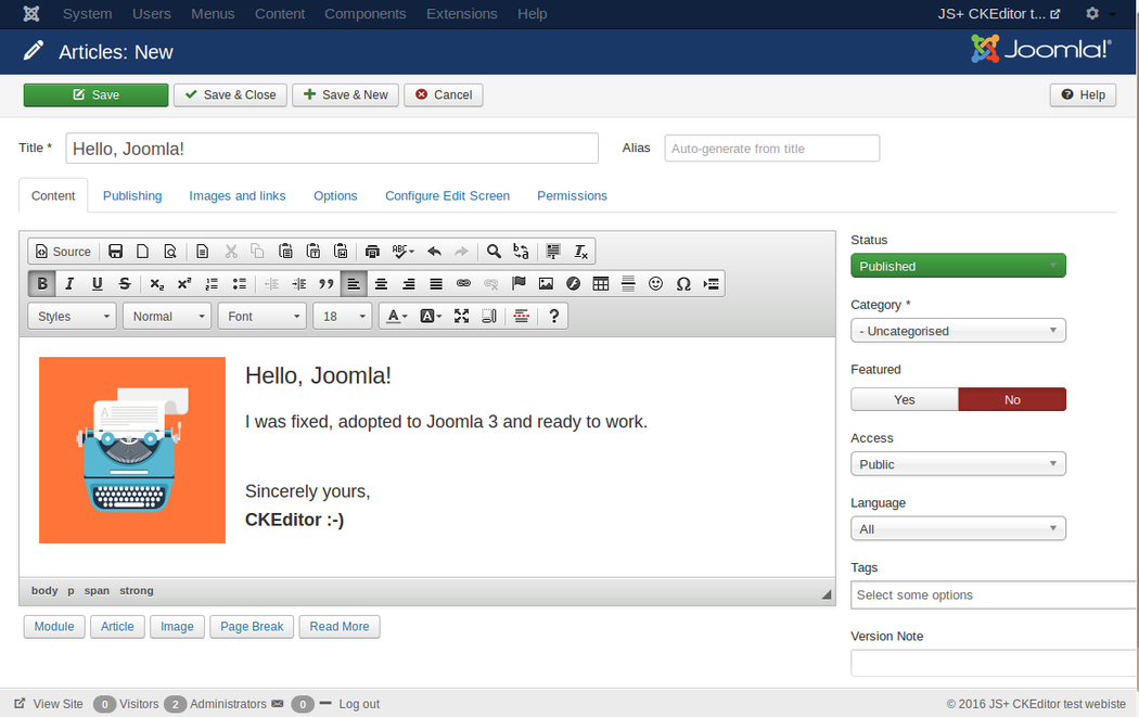 Using CKEditor in Joomla 3 screenshot