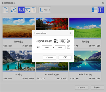 Images options screenshot