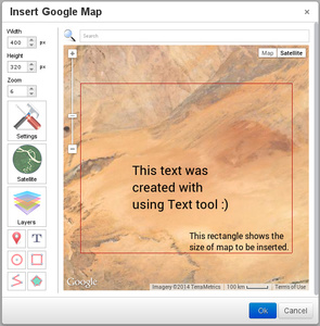 TinyMCE Google Maps rectangle area with text screenshot