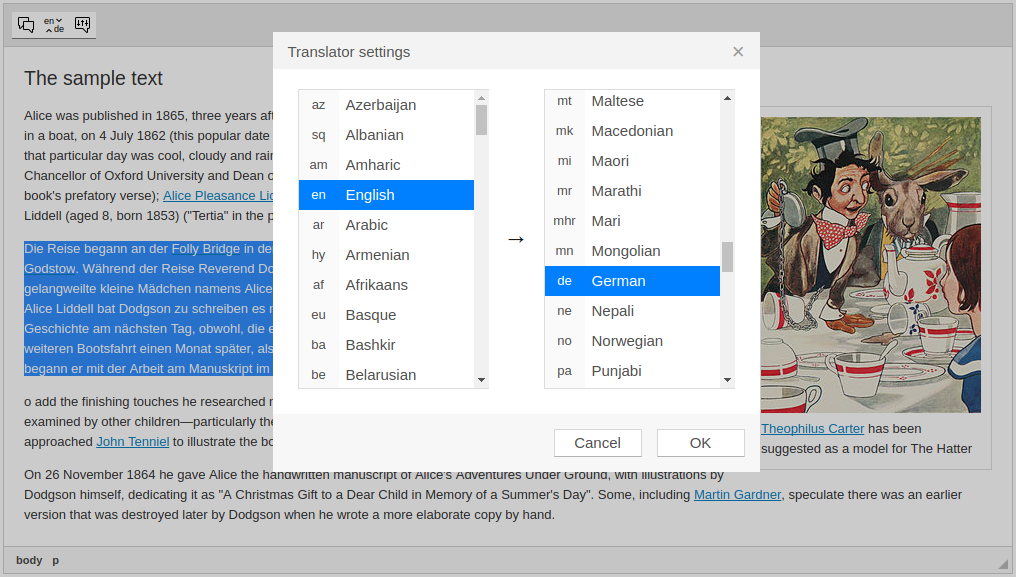 Settings of Translator add-on screenshot