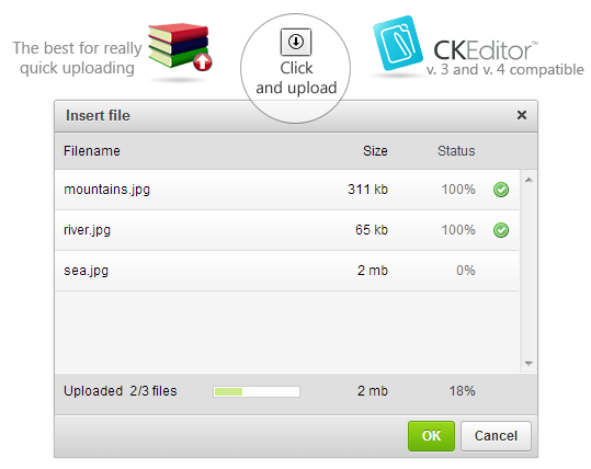 CKEditor Quick File Uploader dialog screenshot