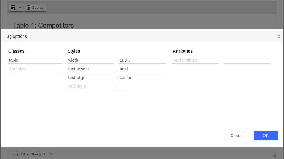 TinyMCE Bootstrap Table Tools cell configuration screenshot