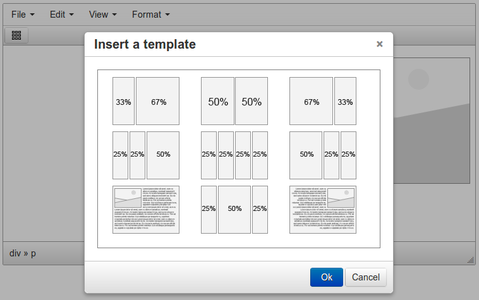 TinyMCE Templates popup screenshot